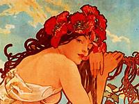 Томные женщины и растительные орнаменты на арт постерах Альфонс Мария Муха