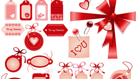 Скачать Love Badges, Ribbons, Bows in Red