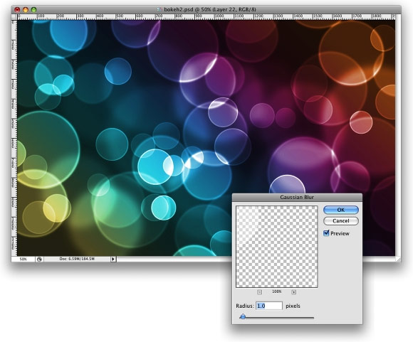 Создаем в фотошопе воздушные цветные пузырьки с эффектом Боке