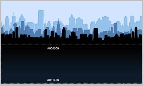Создаем фон для Твиттера с изображением городских домов и яркого солнца