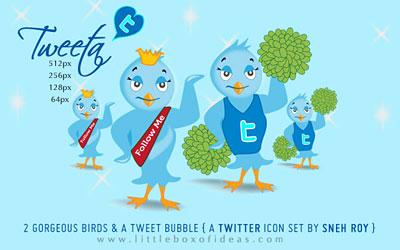 Скачать Tweeta Free Twitter Bird Icon Set