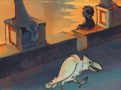 катяпла ворона на крыше