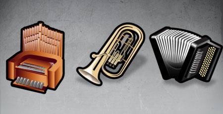 Скачать Stroke musical instruments icons