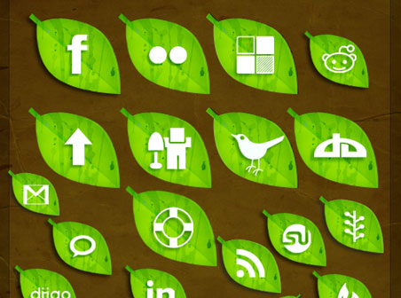 Скачать Free Leaf Social Icon Pack