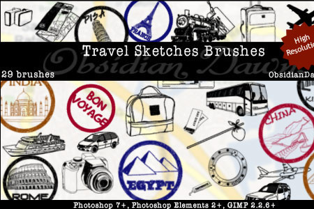 Скачать Travel Sketches Brushes