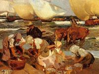 Солнечное побережье, белые одежды женщин и рыбаки от художника Бастида