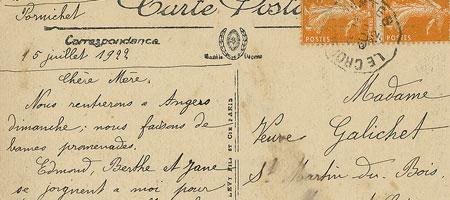 Скачать Текстура рукописного текста на почтовой открытке
