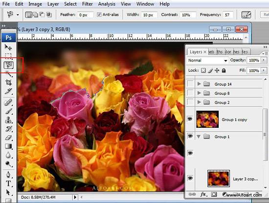 Создаем в фотошопе букет из роз с эффектом ярких цветных брызг