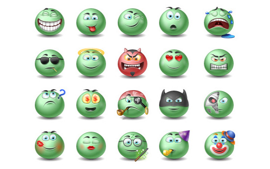 Скачать Green Emotiocns Icons Set
