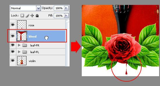 Создаем в фотошопе композицию со скрипкой, листьями и плачущей розой