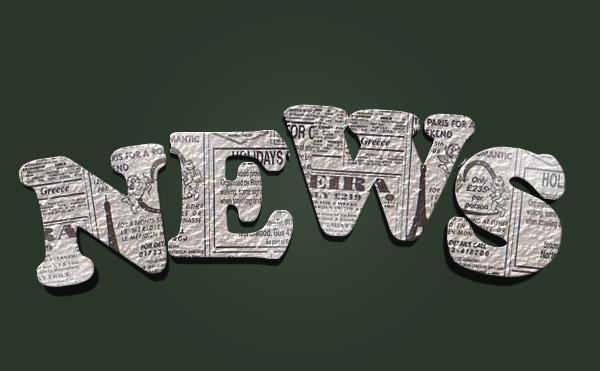 Создаем в фотошопе винтажный 3d текст из мятых старых газет