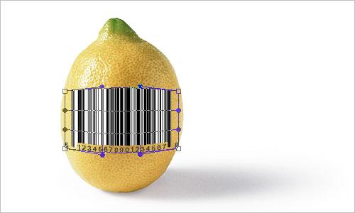 Как в фотошопе реалистично пометить штрихкодом лимонную кожуру