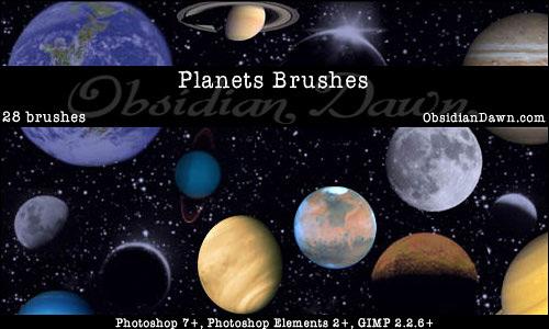 Скачать Planets Photoshop Brushes