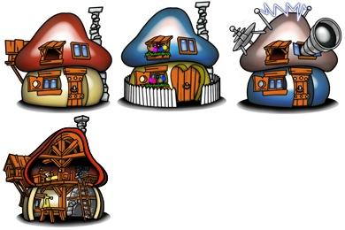 Скачать Smurf Houses Icons By Troyboydesign