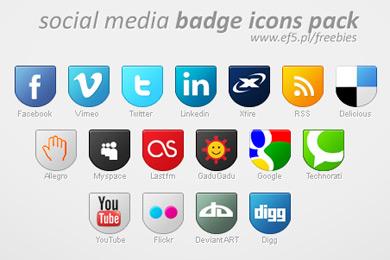 Скачать Social Media badge icons