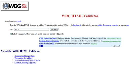 Перейти на WDG HTML Validator