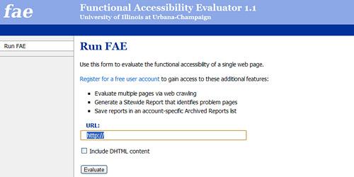 Перейти на Functional Accessibility Evaluator