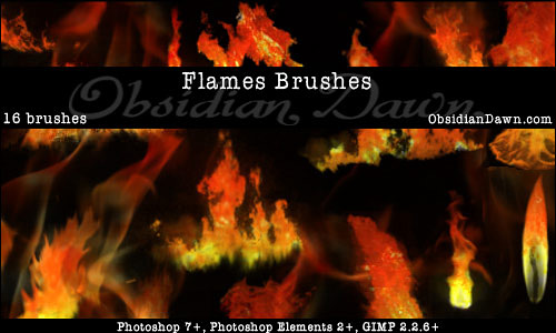 Скачать Flames Fire Photoshop Brushes