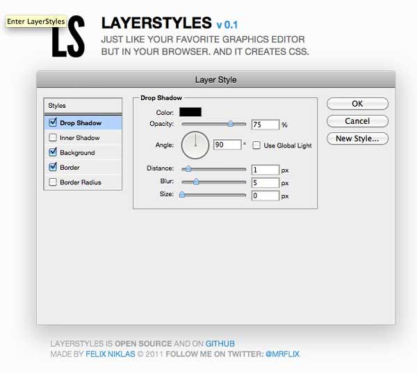 Перейти на Layer Styles