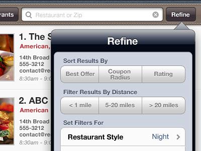 Перейти на Filter Popup For Ipad App