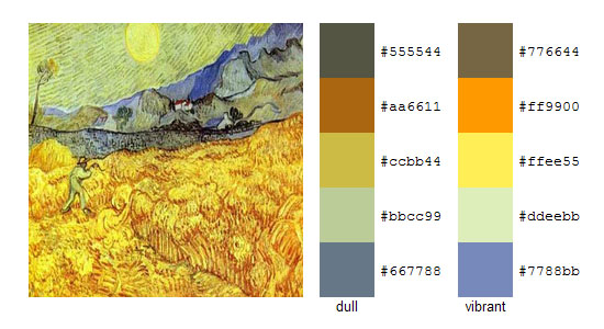 Палитра цветов с картин Винсента ван Гога 1