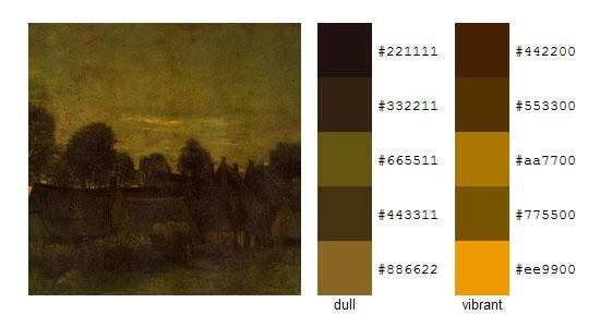 Палитра цветов с картин Винсента ван Гога 9