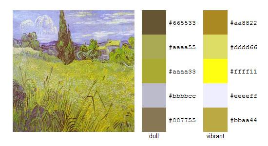Палитра цветов с картин Винсента ван Гога 10