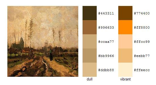 Палитра цветов с картин Винсента ван Гога 18