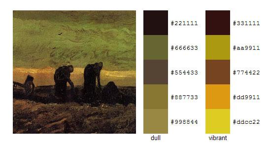 Палитра цветов с картин Винсента ван Гога 20