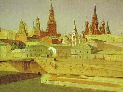 View of the Moskvoretsky Bridge, the Kremlin and the Pokrovsky Cathedral
