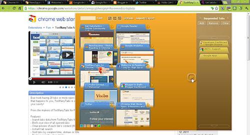 Перейти на TooManyTabs for Chrome
