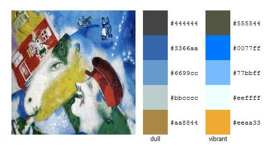 Палитра цветов с картин Марка Шагала 17