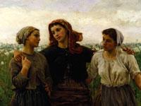Идиллия тружеников на фоне знойной природы от художника Бретона