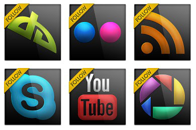 Скачать Black Gloss Social Icons