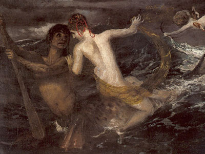 Triton carrying a nereid on his back