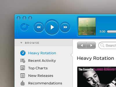 Перейти на Rdio Mac App Redesign