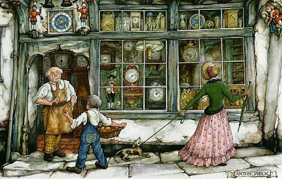 Милые винтажные сценки средневековых городишек от Anton Pieck