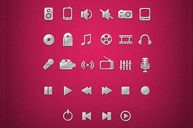 Скачать PSD Media Icons