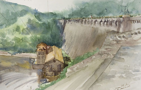 Размытые контуры городских улиц в акварелях художника Minh Dam