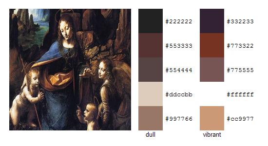 Палитра цветов с картин Леонардо да Винчи 2