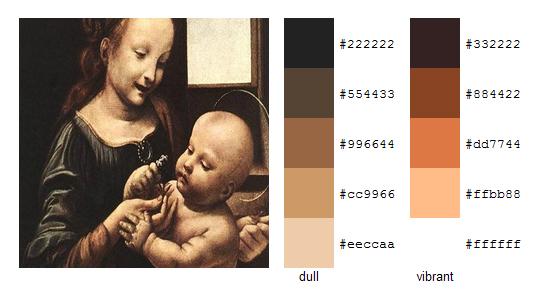 Палитра цветов с картин Леонардо да Винчи 3