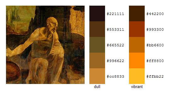 Палитра цветов с картин Леонардо да Винчи 6