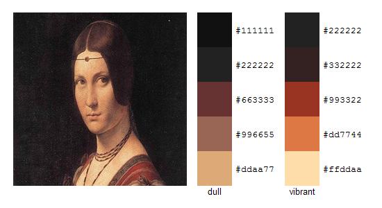 Палитра цветов с картин Леонардо да Винчи 16