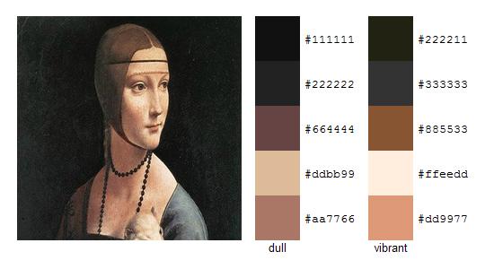 Палитра цветов с картин Леонардо да Винчи 18