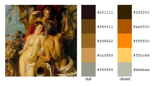 Палитра цветов с картин Рубенса 2