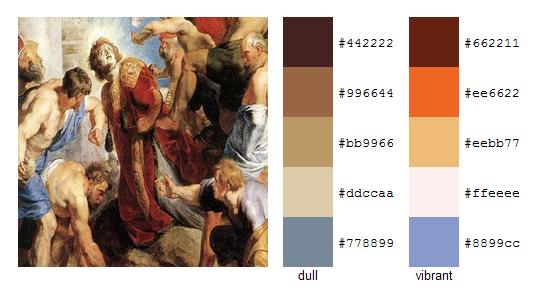 Палитра цветов с картин Рубенса 5