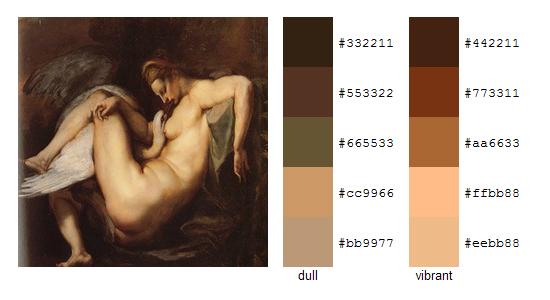 Палитра цветов с картин Рубенса 6