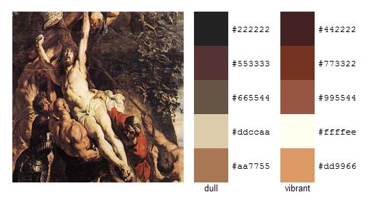 Палитра цветов с картин Рубенса 8