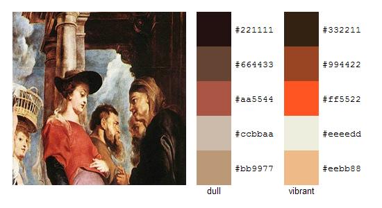 Палитра цветов с картин Рубенса 10