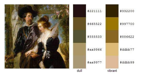 Палитра цветов с картин Рубенса 15